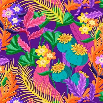 Patrón floral exótico colorido