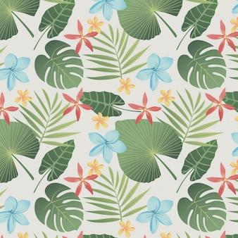 Patrón floral exótico con hojas