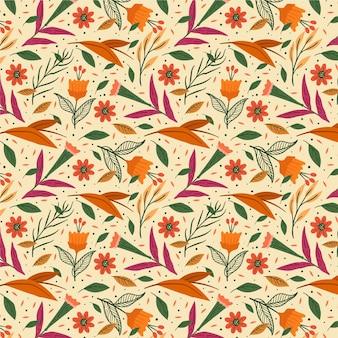 Patrón floral exótico naranja pintado a mano