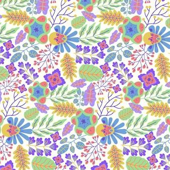 Patrón floral exótico pintado a mano colorido