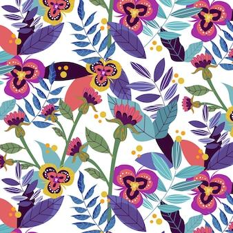 Patrón floral exótico pintado a mano con flores violetas.