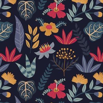 Patrón floral exótico pintado a mano