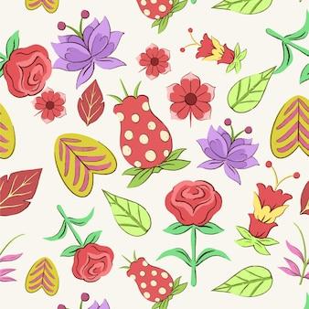 Patrón floral exótico pintado a mano.