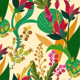 Patrón floral exótico pintado