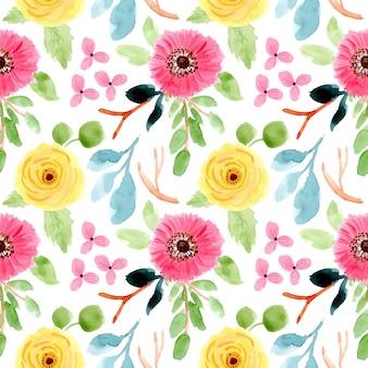 Patrón floral sin fisuras acuarela flor