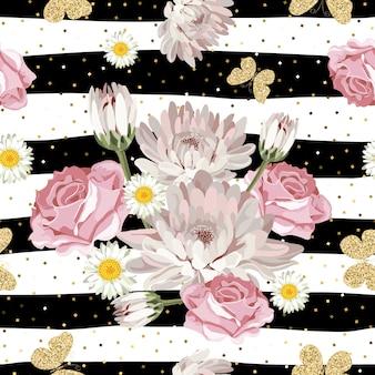 Patrón floral sin fisuras con brillantes mariposas