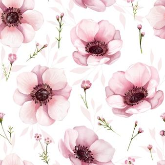 Patrón floral sin fisuras estilo de color de agua, flor de anémona.