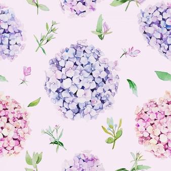 Patrón floral sin fisuras estilo de color de agua, flor de hortensia.