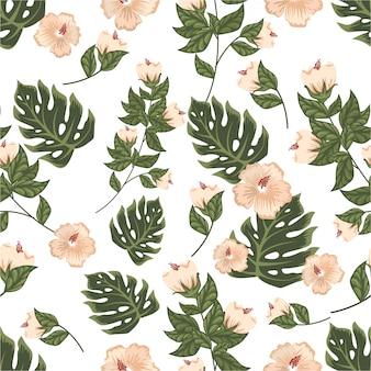 Patrón floral sin fisuras de flor color pastel vintage