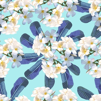 Patrón floral sin fisuras con flor de plumeria