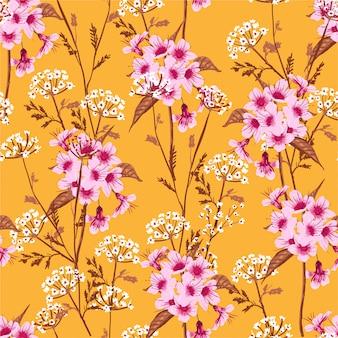 Patrón floral sin fisuras floreciendo flores de prado blanco y rosa