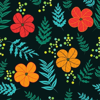 Patrón floral sin fisuras con flores abstractas y hojas