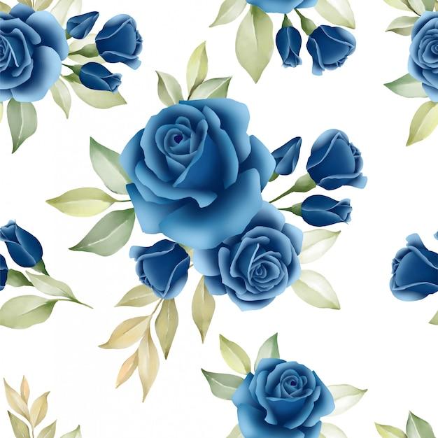Patrón floral sin fisuras de flores azul marino rosas