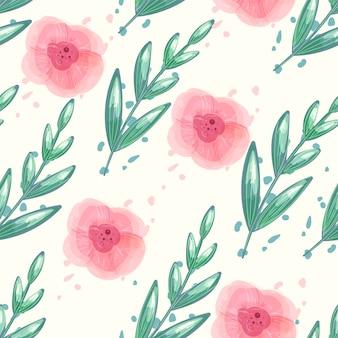 Patrón floral sin fisuras con flores de peonía acuarela.
