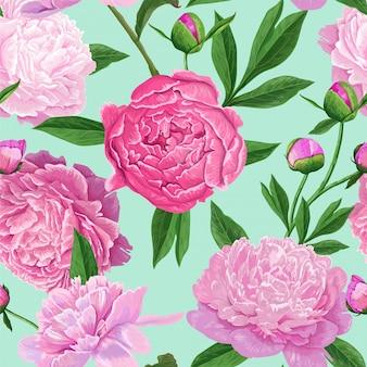 Patrón floral sin fisuras con flores de peonía rosa