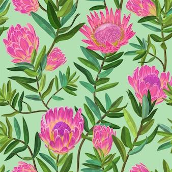 Patrón floral sin fisuras con flores de protea