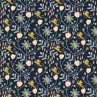 Patrón floral sin fisuras en el fondo azul marino