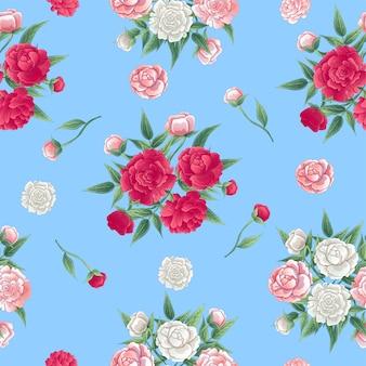Patrón floral sin fisuras. fondo de peonías. peon rosa y blanco.