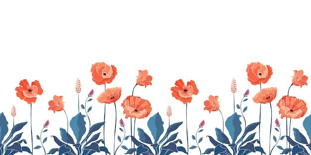 Patrón floral sin fisuras, frontera. flores de amapola de california