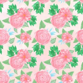 Patrón floral sin fisuras con hermosas flores de color rosa