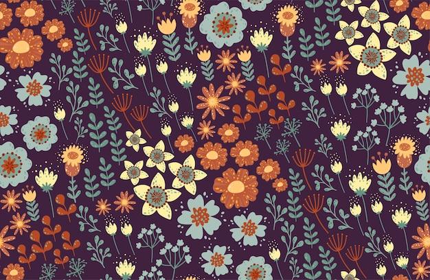 Patrón floral sin fisuras hermosas hierbas y flores, florales.