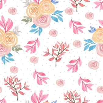 Patrón floral sin fisuras con hermosas rosas rosadas