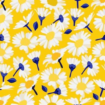Patrón floral sin fisuras margaritas decorativas brillantes, hojas y capullos de manzanilla