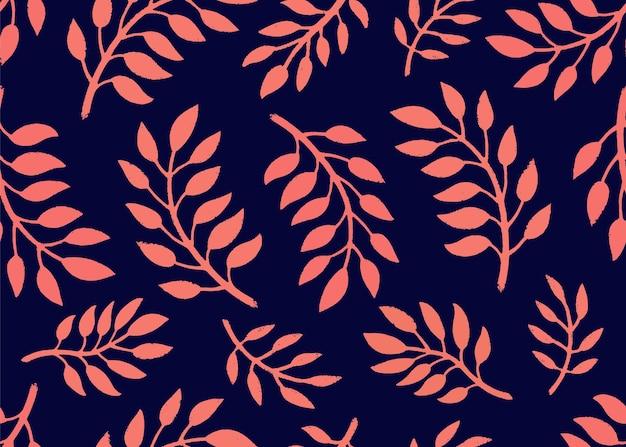 Patrón floral sin fisuras. patrón brillante con ramas en color coral y azul marino.