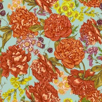 Patrón floral sin fisuras con peonías en estilo vintage