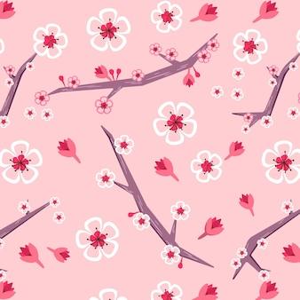 Patrón floral con flor de cerezo