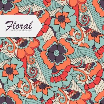 Patrón floral con flor de zentangle.
