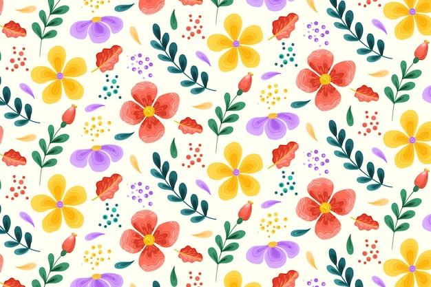 Patrón floral con flores de colores