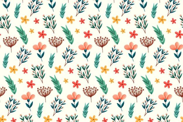 Patrón floral con flores y hojas.
