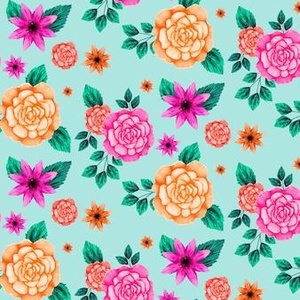Patrón floral con flores naranjas y rosas vector gratuito