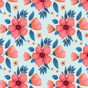 Patrón floral con flores rosas y hojas.