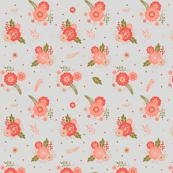 Patrón floral con flores rosas