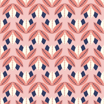 Patrón floral folk geométrico sin costura simple