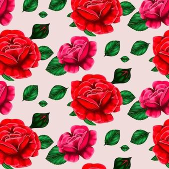 Patrón floral con hermosas rosas