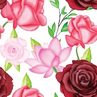Patrón floral hermoso con acuarela
