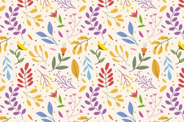 Patrón floral con hojas