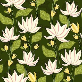 Patrón floral de lirio de agua