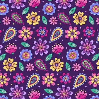 Patrón floral maravilloso dibujado a mano vector gratuito