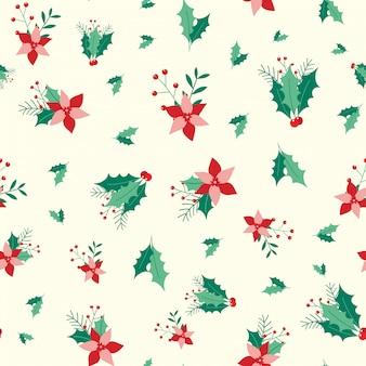 Patrón floral navideño