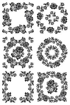 Patrón floral en negro