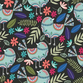 Patrón floral con pájaros, flores y hojas sobre fondo oscuro