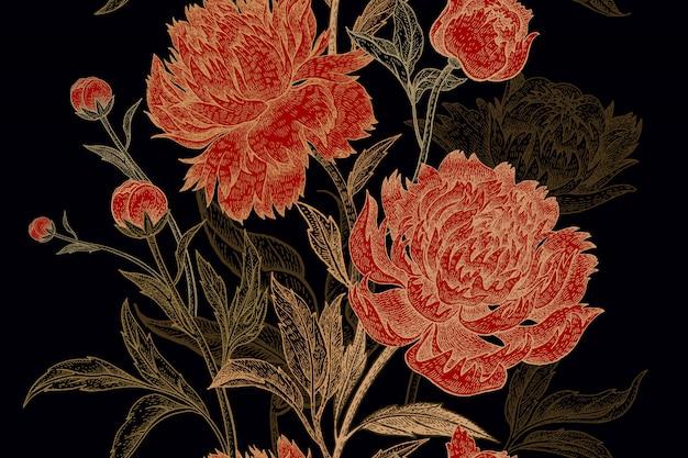 Patrón floral con peonías.