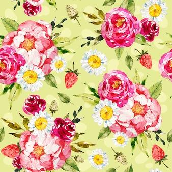 Patrón floral pintado a mano