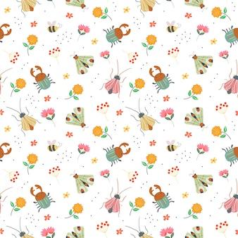 Patrón floral con plantas, insectos y flores.