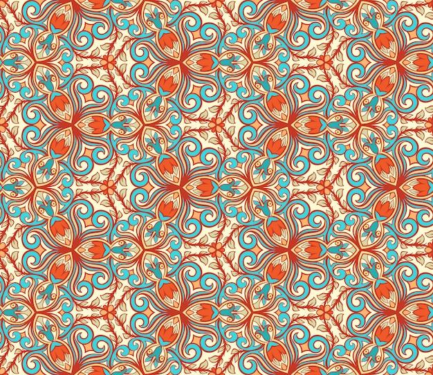 Patrón floral retro azul y naranja