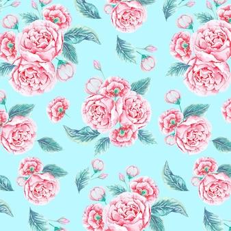 Patrón floral rosa acuarela